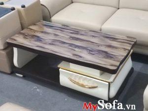 bàn sofa mặt kính vân đá, bàn sofa nhập khẩu đẹp