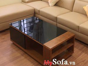 bàn sofa gỗ mặt kính đẹp