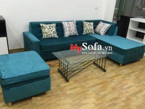 bộ ghế sofa nỉ đẹp màu xanh
