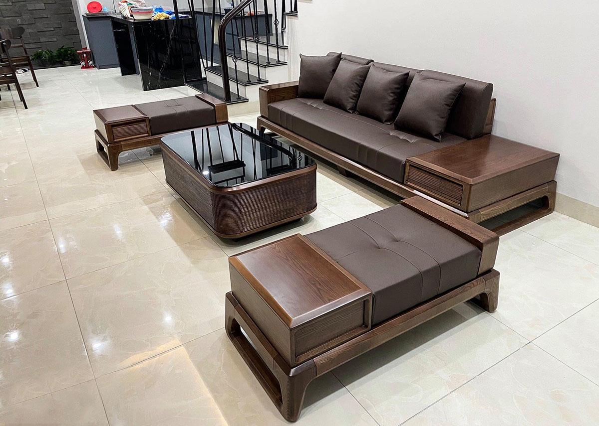 Mẫu ghế sofa gỗ đệm ghế bọc da sang trọng